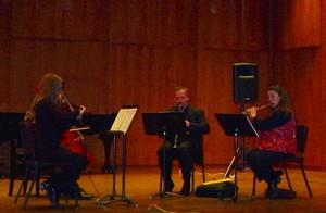 Bessarabica rehearsal, Longy School, Cambridge, MA Karen Oosterbaan-violin, Daniel Plane-'cello, Todd Brunel-clarinet, Trisha Craig–flute.