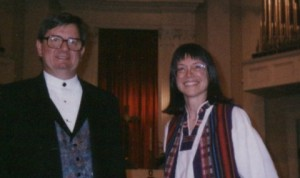 Choral Guild of Atlanta director James Bohart and composer Susan J. Clearman after the choir's performance of <i>Drop Thy Still Dews of Quietness.</i>
